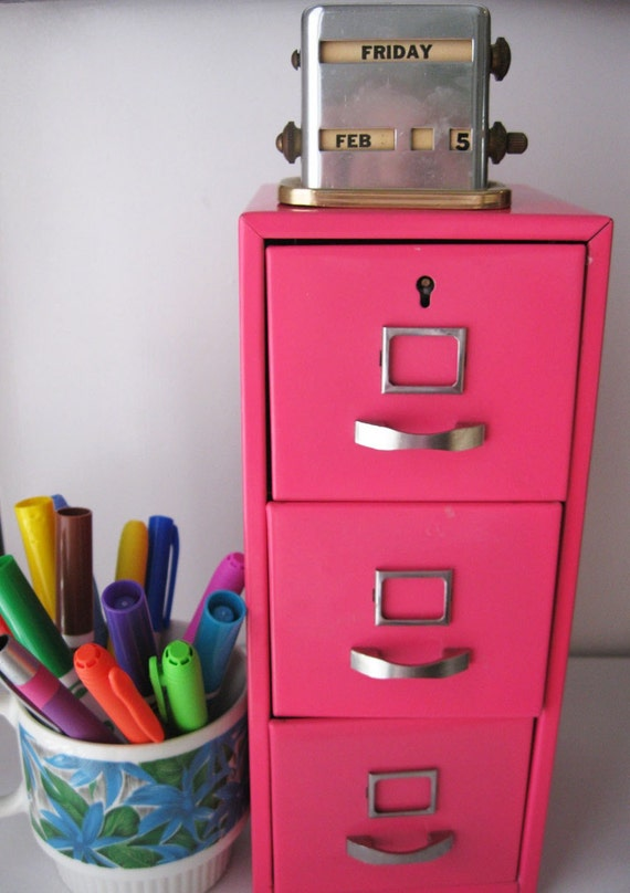 Hot Pink Toy File Cabinet Bank By Swankyladyvintage On Etsy