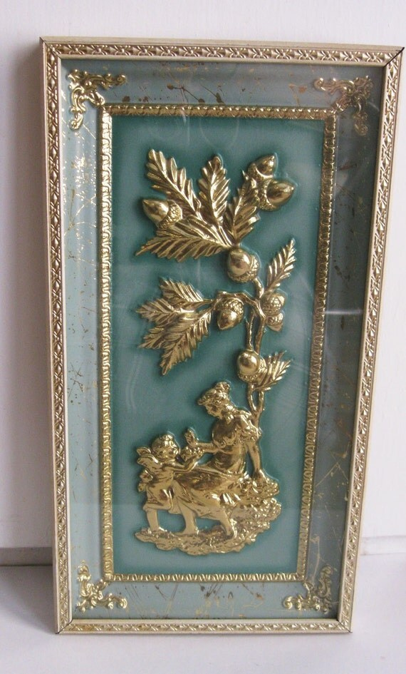Gilded and Green Shadow Box Picture