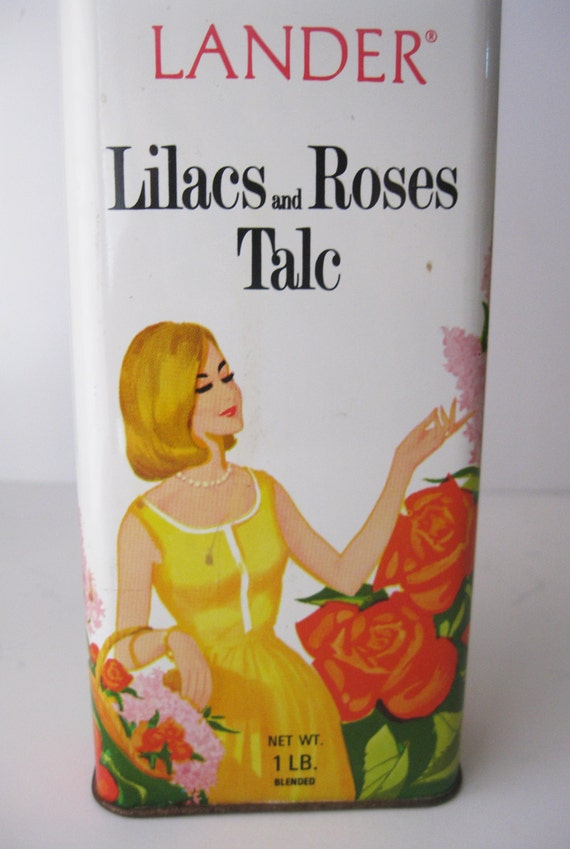 ON SALE-Vintage Lilacs and Roses Talc Tin