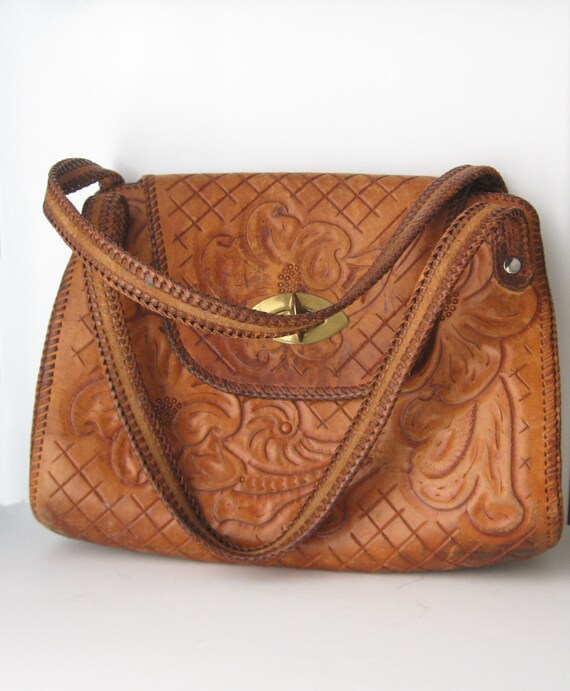 Vintage Tooled Leather Purse 1970s Boho