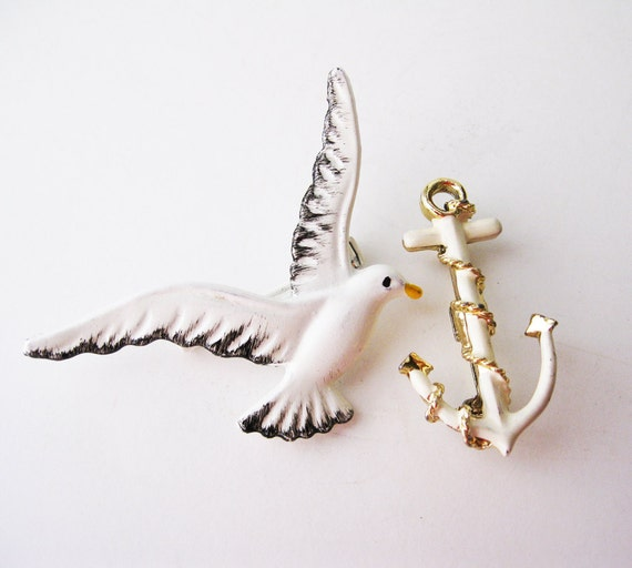 Enamel Seagull and Anchor Pin Set