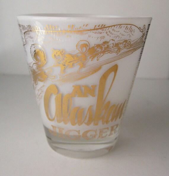 Vintage Alaska Jigger Bar Glass