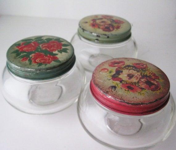 Floral Lidded Glass Jars, Set of Three