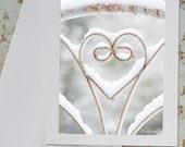 Winter Photo Notecard, Snow on Iron Heart, Holiday Card