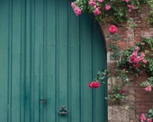 French Country, Blue Door and Roses Fine Art Travel Photograph, France, Home Decor, Wall Art - GeorgiannaLane
