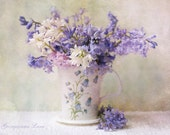 Floral Still Life Photography - Bluebell Fantasy - Romantic Fine Art Photograph of Bluebells in Cup, Vintage Home Decor, Wall Art
