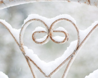 Winter Photography, Shabby Iron Heart in Snow, Wall Decor, Large Wall Art