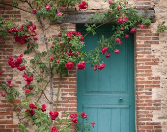 France Photography - French Country Blue Door, Home Decor, Cottage with Roses, Large Wall Art, Romantic Travel Photograph