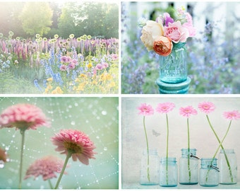 Magical Garden Photo Set - Four Fine Art Photographs, Dreamy, Daisy, Feminine, Romantic,  Home Decor, Large Wall Art