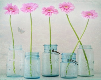 Daisy Photo - Whimsical Flower Fine Art Photograph, Daisies in Jars, Butterfly, Nursery Decor, Teal and Pink Wall Decor