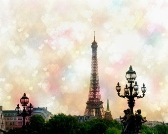 Paris Photography - Valentines Day, Paris Print, Paris Love, Pink Hearts and the Eiffel Tower, French Travel Decor, Large Wall Art