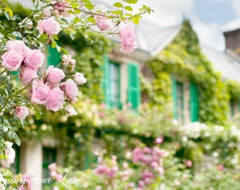 France Photography - Monet's House, Giverny, French Country Photograph, Roses and Blue Shutters, 12 x 18 Fine Art Photograph