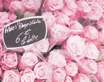 Paris Photo - Roses, Roses - Bouquet of Pink Roses in Parisian Flower Market, France, French Fine Art Travel Photograph
