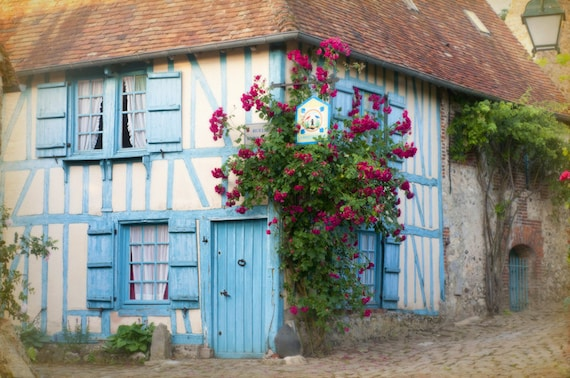 French Country Photo - French Country Decor - La Maison Bleue - blue cottage in France with roses