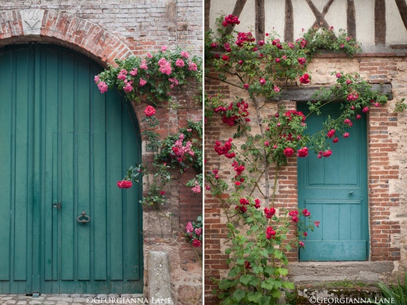 French Country Photography– French Home Decor, Blue Doors and Roses, Two Fine Art Travel Photographs, Large Wall Art