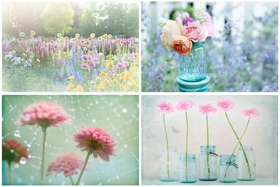 Magical Garden Photo Set - Four Fine Art Photographs, Dreamy, Daisy, Feminine, Romantic,  Home Decor, Large Wall Art