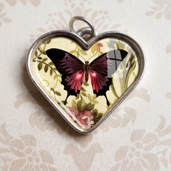 Butterfly Heart Pendant in Antiqued Silver  - Resin Heart Charm, Valentine Gift, Heart Jewelry