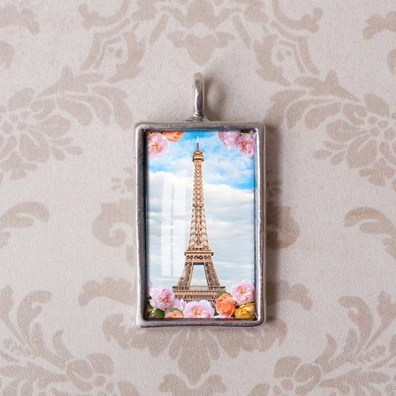 Paris Photo Gift Pendant - Eiffel Tower and Roses in Antiqued Silver - Resin Jewelry Charm
