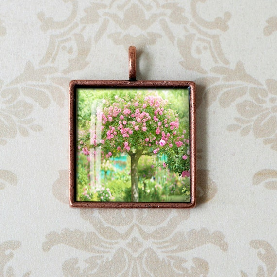 French Garden Photo Pendant  - Monets Garden, Giverny - Wearable Art - Square Antiqued Copper Charm -  Photo Jewelry