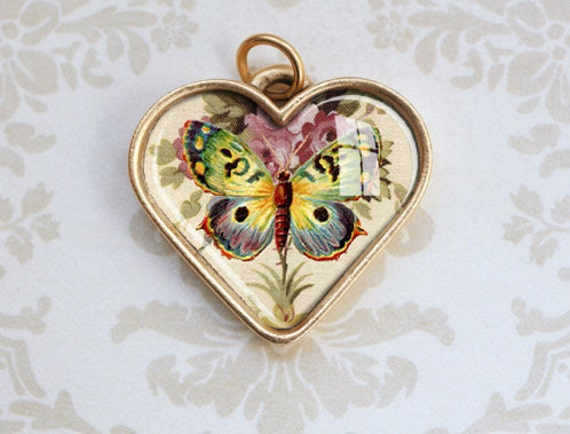 Butterfly Heart Pendant - Valentines Day, Antiqued Gold with Vintage Art and Flowers - Heart Charm - Resin Jewelry