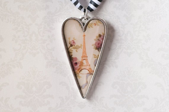 Eiffel Tower Jewelry - Antiqued Silver Heart Pendant with Vintage Art and Flowers - Resin Charm - Heart Jewelry