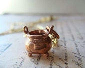 CAULDRON - Copper Charm hanging on a FREE 18 inch Gold Plated Necklace