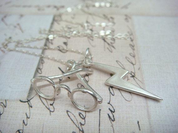 HARRY POTTER Glasses and Lightning Bolt Scar - Sterling Silver