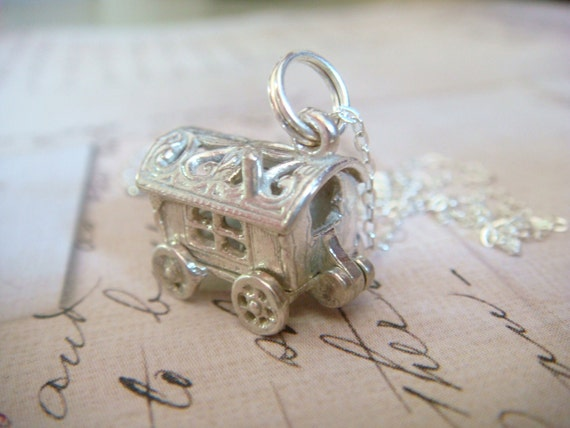 Gypsy Caravan (opens to show gypsy fortune teller)  - Sterling Silver Charm