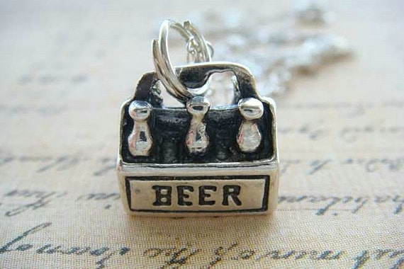 SIX PACK of BEER - Sterling Silver Charm