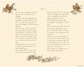 PSALM 91 --- 11 X 14 Hand Written Calligraphy Art Print on Natural Parchment in Sepia Brown Ink or Sky Blue Parchment in Midnight Blue Ink