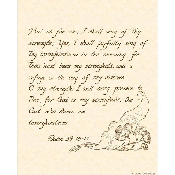PSALM 59.16-17 8 X 10 CALLIGRAPHY ART PRINT