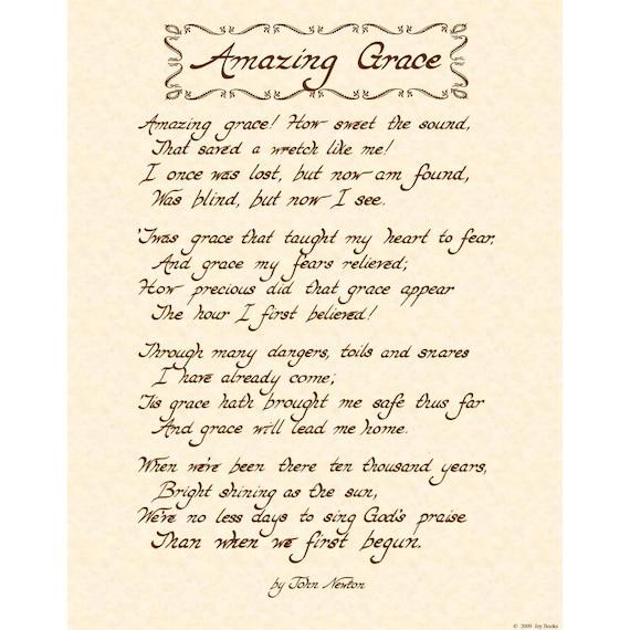Amazing Grace 11x14 Hand Written Calligraphy Art By