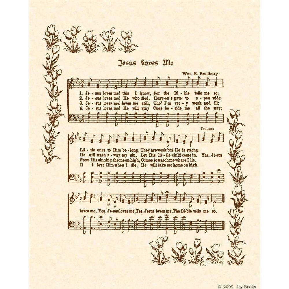 Jesus Loves Me 8 X 10 Antique Hymn Art Print