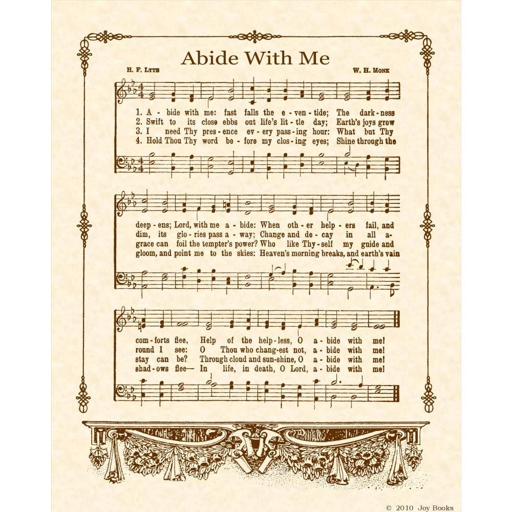 Abide With Me 8 X 10 Antique Hymn Art Print On By Vintageverses