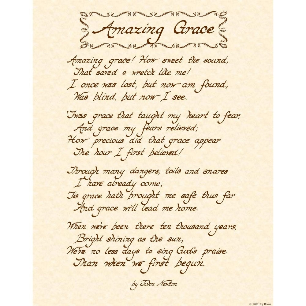 Amazing Grace Lyrics And Sheet Music: AMAZING GRACE 11x14 Hand Written Calligraphy Art By