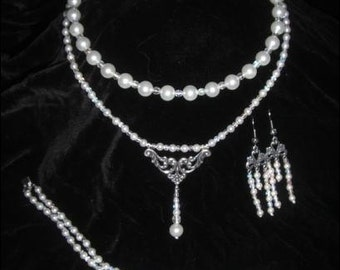 Titanic Heaven Pearl and Crystal Necklace, Bracelet, and Earrings SET for Maya