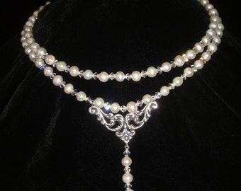 Genuine Pearl and Swarovski Crystal Titanic Heaven or Wedding Necklace