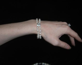 Genuine Pearl and Swarovski Crystal Titanic Heaven or Wedding Bracelet