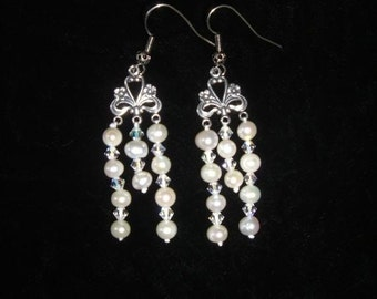 Genuine Pearl and Swarovski Crystal Titanic Heaven or Wedding Earrings