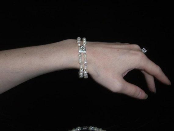 Genuine Pearl and Swarovski Crystal Titanic Heaven or Wedding Bracelet