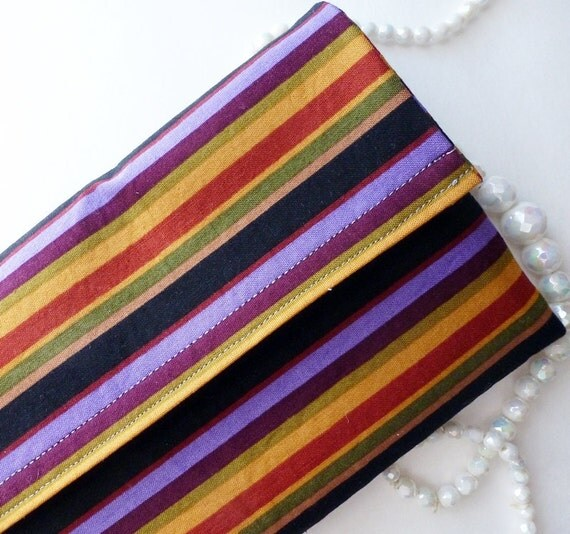 Jewelry case for travel  purple black brown stripes