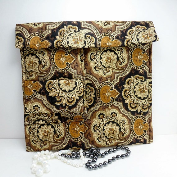 Travel Jewelry case Brown black gold tapestry print Fabric organizer