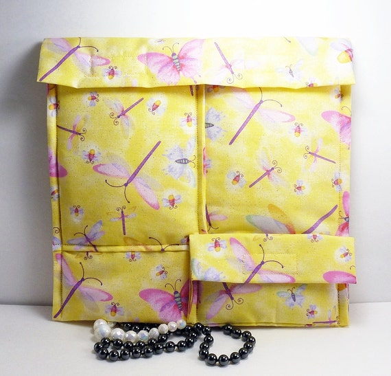 Jewelry travel case Yellow Pink dragonflies butterflies Necklace earring padded fabric organizer