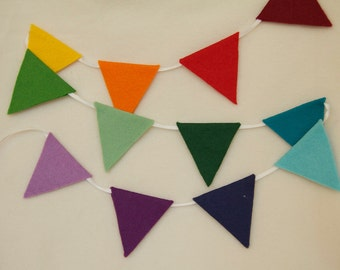 mini felt bunting by the metre . garland . your choice of colours TO ORDER
