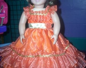 "American Girl 18"" Doll Clothes - Cinnamon Prom/Party Dress with Gold Accents."