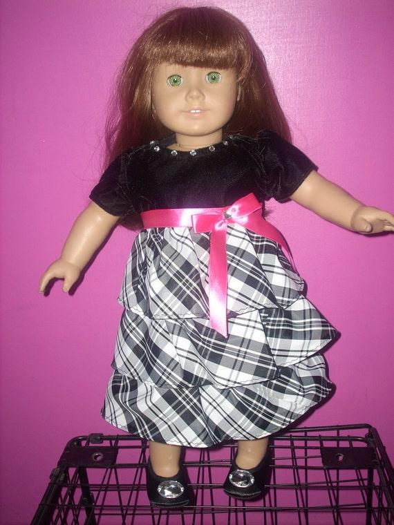 AMERICAN GIRL doll clothes- FANCY holiday dress - 18 inch dolls-  plaid