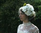 Flore - silk roses and veiling bridal fascinator.