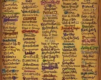 "Names of God - Canvas Print (22x30"") - Scripture Art - Christian Canvas - Inspirational Print"