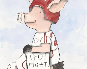 "Arkansas Razorback Baseball ""Piggie"" - 9x12"" Watercolor Fine Art Print"
