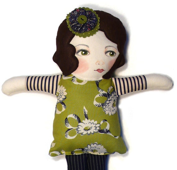 Handmade Cloth Doll by Whimsybean in Green Retro Floral-Bette